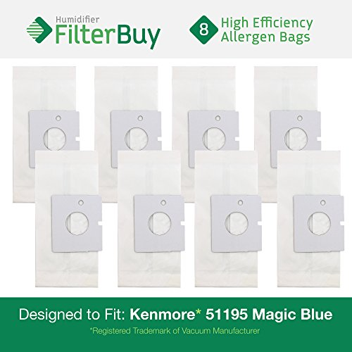 8 - Kenmore 51195 Magic Blue Canister Micro Allergen Vacuum Bags. Designed by FilterBuy to Replace Kenmore Part # 20-51195 (2051195) and Kenmore M Bags. (Kenmore Blue Magic Parts compare prices)