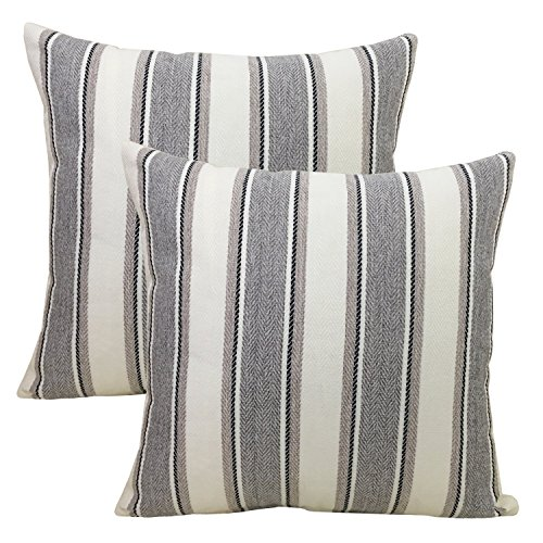 BLUETTEK Cool Stripe Pillow Cases Cotton Linen Square Decorative Throw Cushion Cover 18 Inches by 18 Inches (Gray-2Pc) (Grey Cushion Stripe)