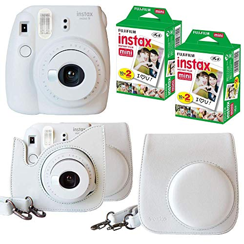 Fujifilm Instax Mini 9 Instant Camera (Smokey White) + Bundle with Fuji INSTAX Instant Film Twin Packs X 2 (40 Sheets) + Groovy Camera Case (Smokey White)