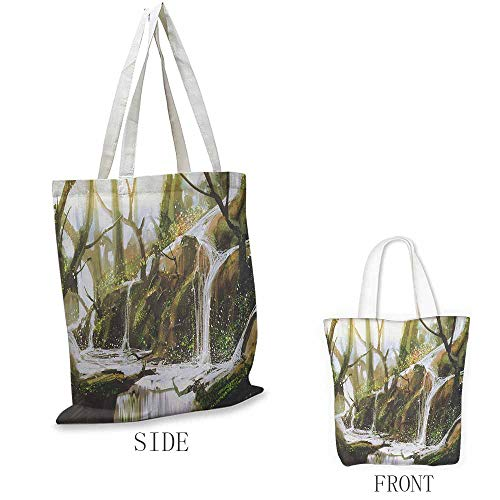 Fantasy Washable shopping bag Cascade Stream Flows into the Creek in a Realistic Way Secret Paradise Paint Print Handmade shopping bags W15.75 x L13.78 Inch White Brown