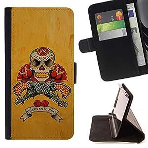 Momo Phone Case / Flip Funda de Cuero Case Cover - Pistolas Pistolas Cráneo amarillo Guerra Rose - Sony Xperia Z5 5.2 Inch (Not for Z5 Premium 5.5 Inch)