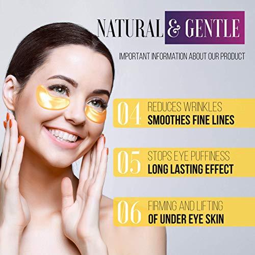 51M7vEVqlaL - Under Eye Patches - 24K Gold Under Eye Mask Anti-Aging Hyaluronic Acid Collagen Under Eye Pads Reducing Dark Circles & Wrinkles Treatment Gel Bags