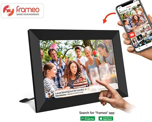 Frameo App Diamond Style Akimart 10 Inch WiFi Digital Photo Frame with Touch Screen iOS and Android IPS LCD Panel Auto-Rotate,Built in 16GB Memory Send Photos or Videos from Anywhere