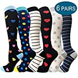 Compression Socks for Men & Women - 3/6 Pairs - Best for Running,Medical,Sports,Flight Travel, Pregnancy - 20-30mmHg (Multicoloured 10, Small/Medium)