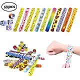 Grocery House 30pcs/60pcs Slap Bracelets Slap Bands for Kids Party Bag Fillers Snap Bands Little Toys Party Favor Pack with Colorful Hearts Perfect for School Birthday Goodie Bag (60pcs)