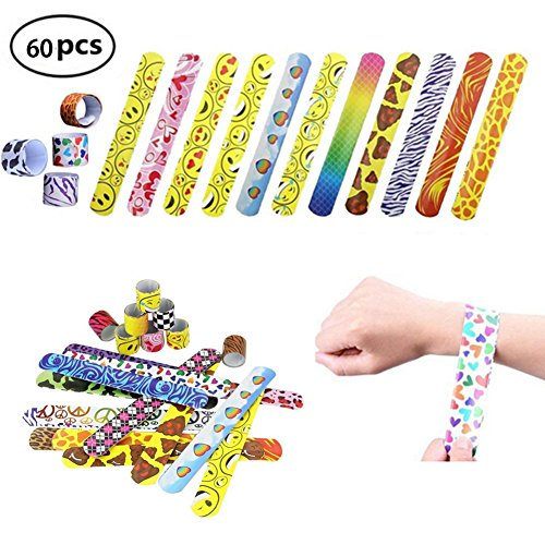 Grocery House 30pcs/60pcs Slap Bracelets Slap Bands for Kids Party Bag Fillers Snap Bands Little Toys Party Favor Pack with Colorful Hearts Perfect for School Birthday Goodie Bag (60pcs) by Grocery House