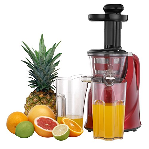VonShef Fruit Vegetable Masticating Juicer Machine with Quiet 200W Motor, Red
