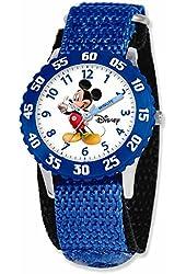 Disney Mickey Mouse Kids Blue Nylon Velcro Strap Time Teacher Watch