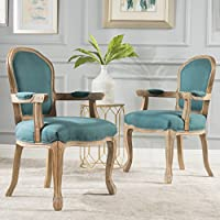 Pacifica Wood Frame Arm Chair (Set of 2) (DarkTeal/Natural)
