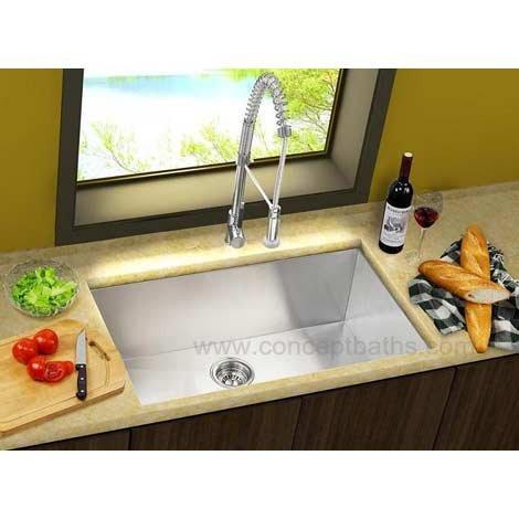 23 Stainless Steel Zero Radius Undermount Single Bowl Kitchen Sink, Free Bottom Grid