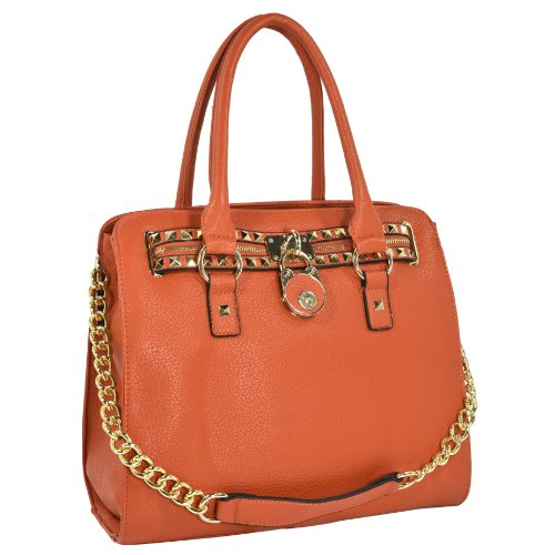 HALEY Orange Classic Gold Studded Structured Satchel Purse Style Tote Handbag