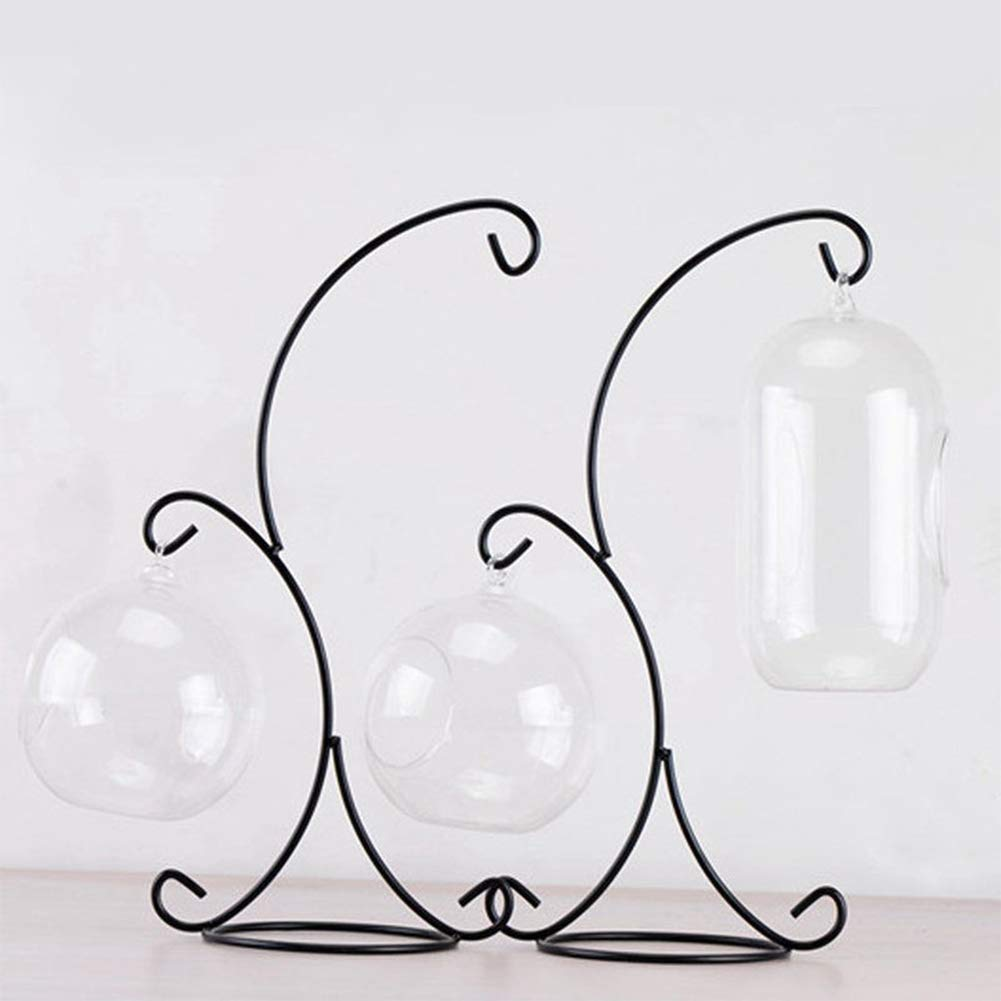 for Hanging Glass Globe Air Plant Terrarium Desktop Iron Hanging Stand Rack Holder with 2 Hooks Ornament Display Stand Black Witch Ball Christmas Ornament Home Garden Wedding Decor