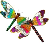 "D.I.D. Large Dragonfly Nature Inspired Colorful Metal Iron Stained Glass Garden Decor Wall Yard Art Sculptures for Indoor Outdoor Set of 2 (21"" x 13.5"")"