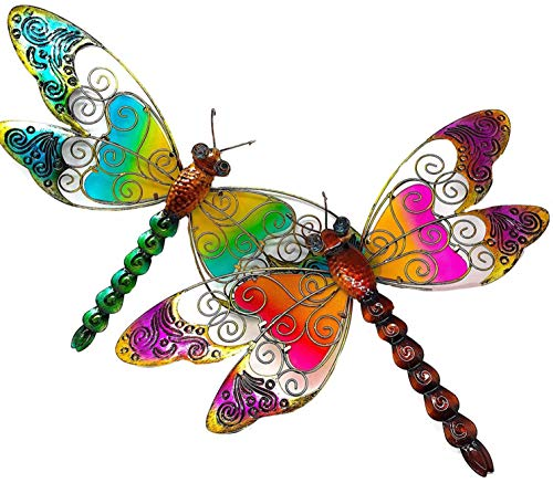 (D.I.D. Large Dragonfly Nature Inspired Colorful Metal Iron Stained Glass Garden Decor Wall Yard Art Sculptures for Indoor Outdoor Set of 2 (21
