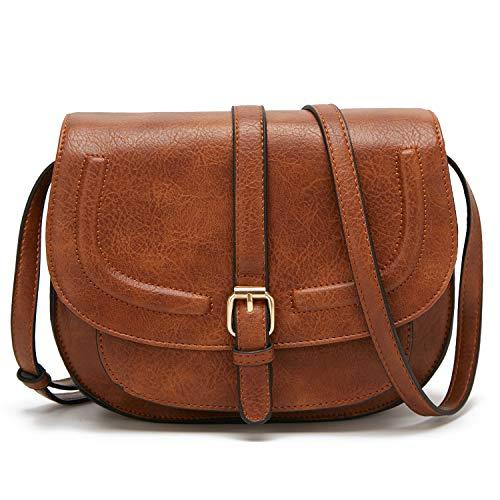(Forestfish Women's Crossbody Bags Saddle Purse Satchel Bag Tote Shoulder Handbags, Brown)