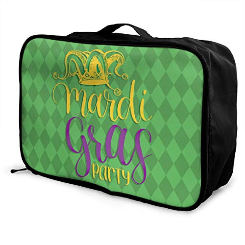 Charm Trend Mardi Gras Carnival Jester Hat Lightweight Waterproof Large Travel Duffel Bag Rolling Packable Extra Overnight Luggage Bags for Camping Gym Bags for -
