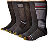 Gold Toe Men's 6-Pack Fashion Sport Crew Socks, Stripe Charcoal/Black, Sock Size10-13/Shoe Size6-12.5