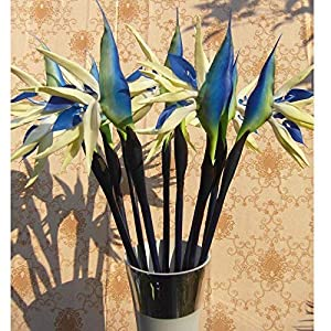 Maylife 32.28'' Real Touch Bird of Paradise Artificial Flowers Bouquet for Home Garden Decoration/Wedding Party Decor (Package Quantity: 1 Stem, Blue) 91