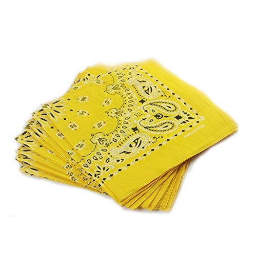 YOHO BUY Cowboy Paisley Bandanas Novelty - 12 Pack (Bright Yellow)