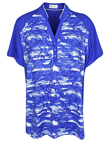 Callaway Women's Short Sleeve Tropical Print Top, Dazzling Blue, X-Large Big