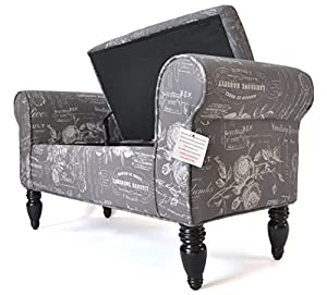 Perfect Double Chaise Lounge With Storage   Paris Script Grey (Paris Script Grey)