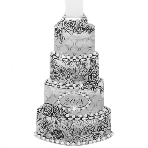Wendell August 2018 Celebration Aluminum Cake Ornament w/Swarovski Crystals, A Perfect, Unique Gift for The Holidays, Weddings, Anniversaries and More ()