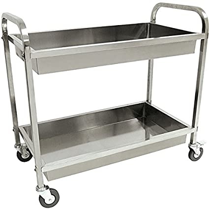 Amazoncom Kitchen Serving Cart Classic Stainless Steel Rolling