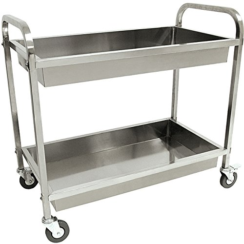Kitchen Serving Cart Classic Stainless Steel Rolling Wheels Push Utility Unit Indoor Outdoor Solid - Condiment Cart
