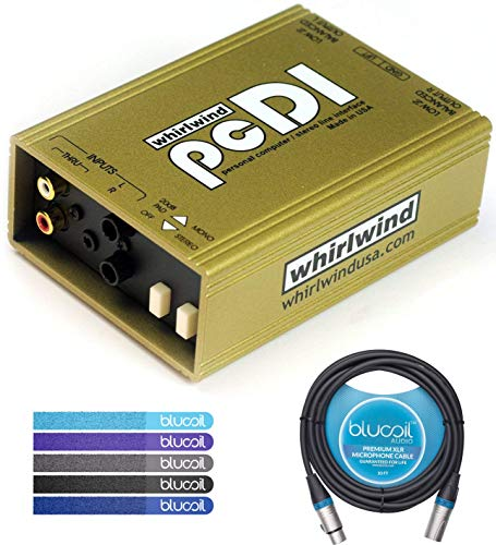 Whirlwind pcDI Passive A/V Direct Box with Ground Lift Bundle with Blucoil Audio 10ft Balanced XLR Cable and 5 Pack of Reusable Cable Ties