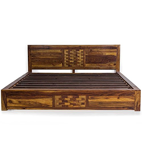 Evok Imporio King Size Solid Wood Bed  Sheesham Wood   Brown