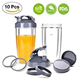 Nutribullet Replacement 32 OZ Cups with Flip Top To-Go Lid,Gaskets,Lid Rings, Resealable Lid for NutriBullet 600W and Pro 900 High-Speed Blender/Mixer, NutriBullet 10-pieces Replacement Parts