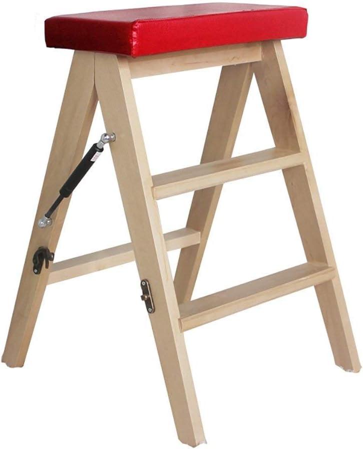 BBG Escalera de Mano Silla de Escalera Plegable de 2 Peldaños Escalera Portátil de Madera Biblioteca Ligera para el Hogar Taburete de Escalera (Color: Rojo),Rojo: Amazon.es: Bricolaje y herramientas