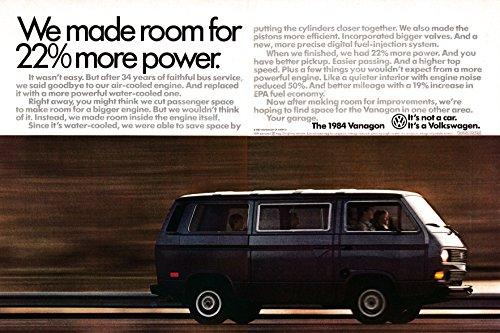 1984 VW Vanagon Minibus 22% More Power Volkswagen Original 2 Page Magazine ()