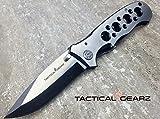LIGHTNING DEAL!! SCRATCH N DENT SALE!! TacticalGearz Folding Knife, 440c Stainless Steel Drop Pont Blade, Black Titanium/Stainless Steel Handle