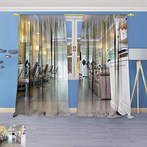 SOCOMIMI Linen Curtains depositphotos stockempty hairdresser salon Print Window Curtain Drapes Set for Living Room 120W x 72L Inch