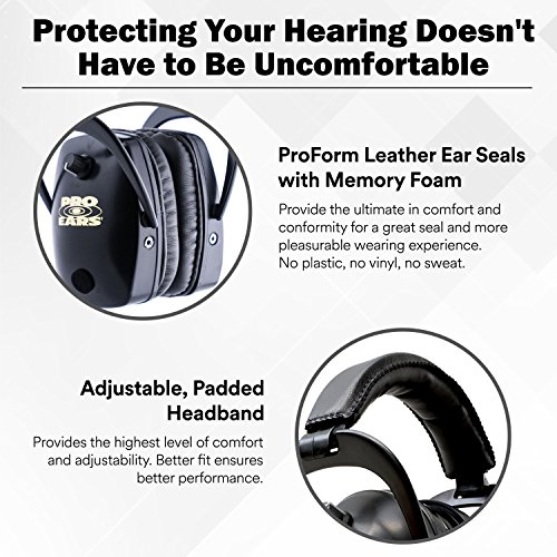 Pro Ears - Pro Tac Slim Gold - Military Grade Hearing Protection and Amplification - NRR 28 - Ear Muffs -  Lithium 123a Batteries - Black by Pro Ears (Image #4)