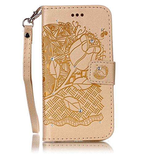 Funda Galaxy S4, Carcasa Plegable para Galaxy S4, Funda de piel Samsung i9500, Lifetrut Sólido Shiny Sparkle libro de estilo funda de cuero con ranura para tarjetas de cierre magnético soporte funda d E208-Rose Flower in Gold