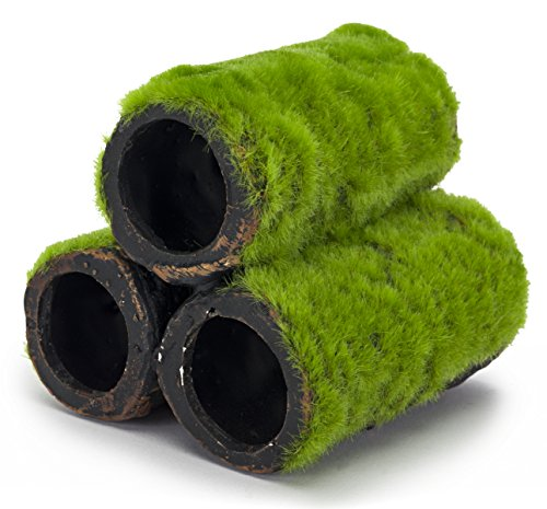 Penn Plax Hideaway Pipes Aquarium Decoration Realistic Look with Green Moss Like Texture