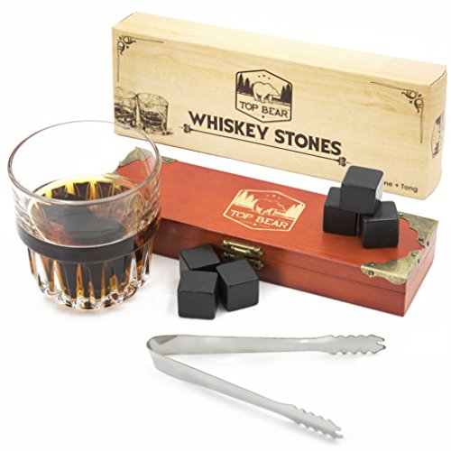 Top Bear Whiskey Stones: 9 Natural Soapstone Cubes to Chill Whiskey and Other Drinks Without Dilution, Plus Stainless Steel Tongs in a Wooden Gift Box