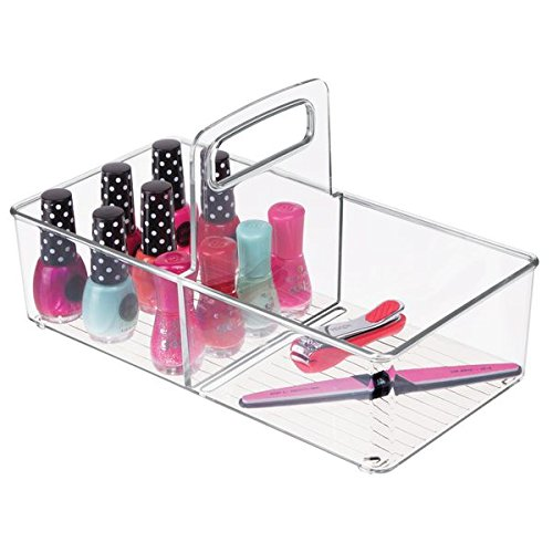 (mDesign Plastic Portable Bathroom Cabinet Storage Organizer Caddy Tote - Divided Holder, Bin with Handle - Holds Cosmetics, Eye Cream, Makeup Brushes, Eyeshadow Palettes, Nail Polish - Small, Clear)