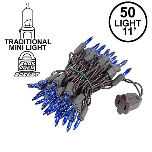 Novelty Lights 50 Light Blue Christmas Mini String Light Set, Brown Wire, Indoor/Outdoor UL Listed, 11' Long ()