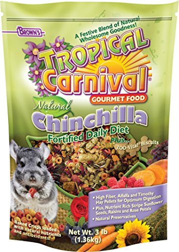 Browns Tropical Carnival Natural (F.M. Brown's Tropical Carnival Natural Chinchilla Food, Vitamin-Nutrient Fortified Daily Diet with High Fiber Alfalfa and Timothy Hay Pellets for Optimum Digestion, 3lb)