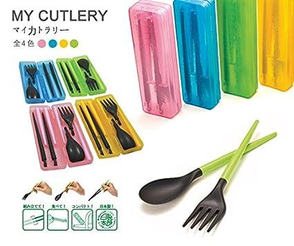 eSmart mi juego de cubiertos con palillos tenedor y cuchara Combo caja buena para Picnic al