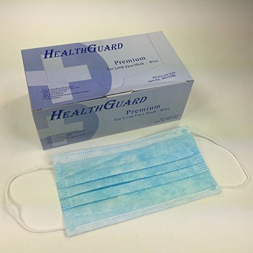 50 PCS 3-Ply Commercial Dental Surgical Medical Disposable Earloop Face Masks, Latex Free, Dust / Pollen Face Mask | FDA Registered & Approved! (Blue)