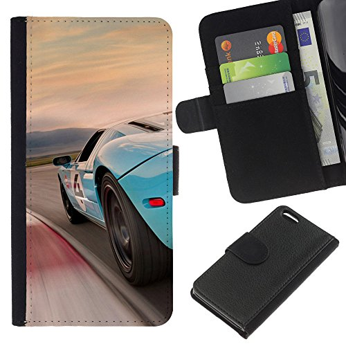 Funny Phone Case // Cuir Portefeuille Housse de protection Étui Leather Wallet Protective Case pour Apple Iphone 5C /Bleu Racing Car/