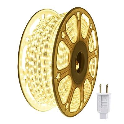 JUNWEN LED Strip Lights Waterproof,Rope Light,720LEDS,39ft/12m,Warm White,Outdoor,Indoor,Xmas Decorative,Plugin 110V,String Lighting,Flexible,SMD 2835,Connectable,Connector,Fuse Holder
