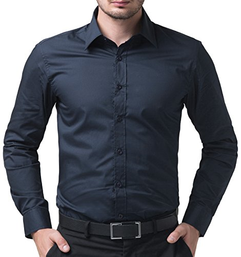 (PAUL JONES Shirts Long Sleeve Solid Dress Shirts for Men (Navy Blue, S))
