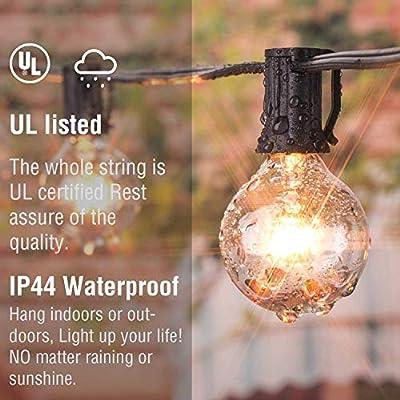 25Ft G40 String Lights with 25 Warm Globe Bulbs