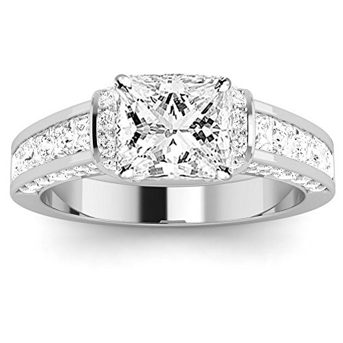1.9 Ctw 14K White Gold GIA Certified Princess Cut Contemporary Channel Set Princess And Pave Round Cut Diamond Engagement Ring, 1 Ct I-J SI1-SI2 Center by Diamond Manufacturers USA