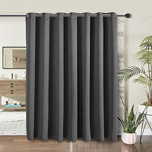 WONTEX Room Divider Curtain – Privacy Blackout Curtains for Bedroom Partition, Living Room and Shared Office, Thermal Insulated Grommet Curtain Panel for Large Windows, 15ft Wide x 9ft Tall, Grey